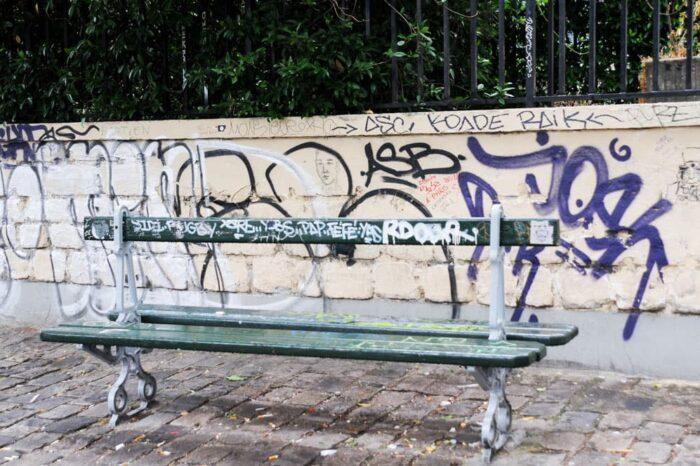 Street Art Bench in Paris, France © Amy Weiser, Photographer
