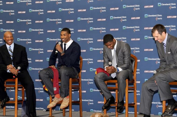 Cleveland Cavaliers Press Conference with Tristan Thompson and Kyrie Irving with Byron Scott and Chris Grant© Amy Weiser, Photographer