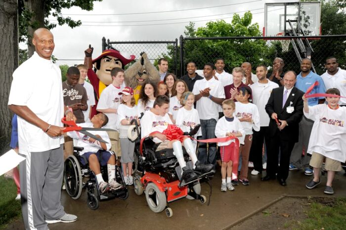 Byron Scott, Tristan Thompson and Kyrie Irving at a Cleveland Cavaliers Ribbon Cutting Event © Amy Weiser, Photographer