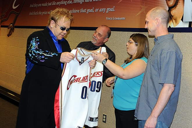 Elton John and Billy Joel Presented with Cleveland Cavaliers Jerseys, Backstage, Event Photography © Amy Weiser, Photographer