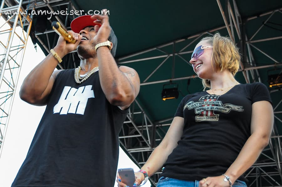 Singer Nelly with Amanda Berry at RoverFest 2013 © Amy Weiser, Photographer