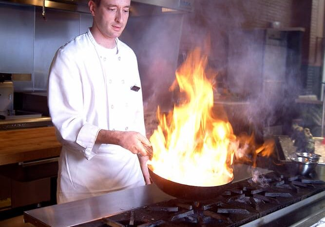 Chef Cooking at Case Western Reserve University, Commercial Photography © Amy Weiser, Photographer