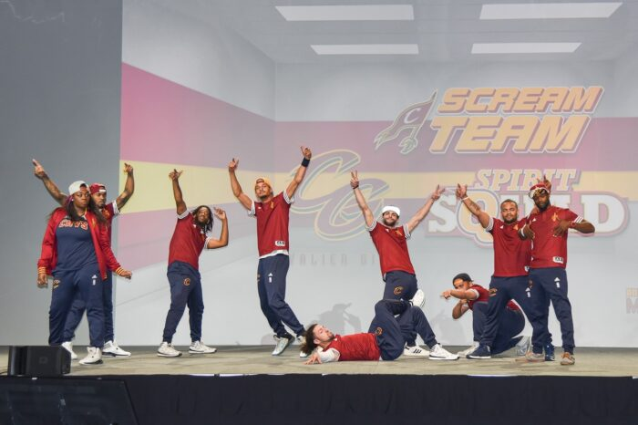 The Cleveland Cavaliers Scream Team Performing on Stage at a Wine & Gold United Member Event © Amy Weiser, Photographer